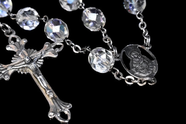 Deco Crystal Sterling Silver Rosary Beads Iridescent c1920s - Premier Estate Gallery 4