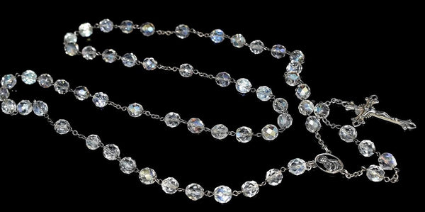 Deco Crystal Sterling Silver Rosary Beads Iridescent c1920s - Premier Estate Gallery 5