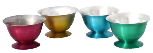 1950s Anodized Aluminum Ice Cream Sundae Dessert Bowls X4 Rainbow Colors - Premier Estate Gallery