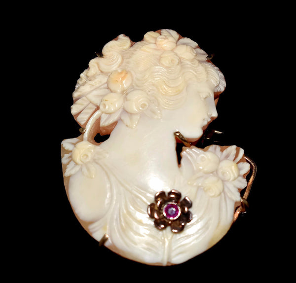 Vintage 14k Cut Out Cameo Silhouette Brooch with Ruby Accent - Premier Estate Gallery