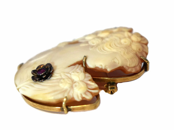 Vintage 14k Cut Out Cameo Silhouette Brooch with Ruby Accent c1920 - Premier Estate Gallery 4