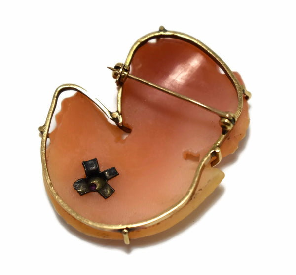 Vintage 14k Cut Out Cameo Silhouette Brooch with Ruby Accent c1920