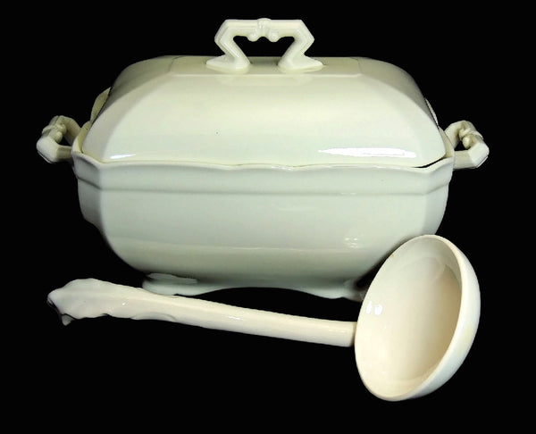 Ironstone Tureen with Ladle John Maddock and Sons Antique Stark White - Premier Estate Gallery  - 1