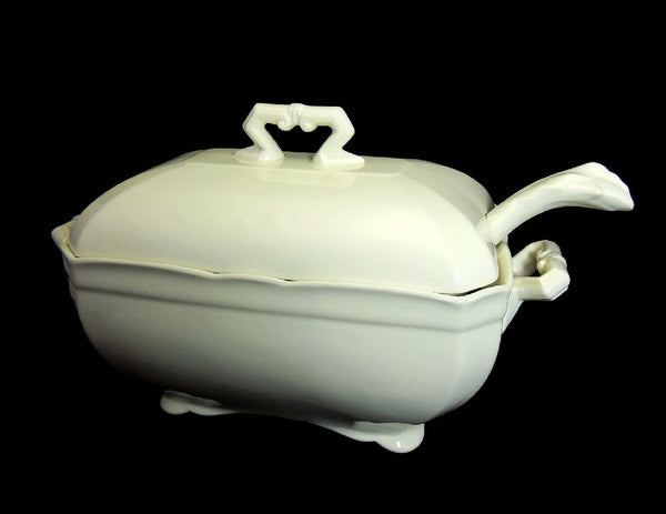 Ironstone Tureen with Ladle John Maddock and Sons Antique Stark White - Premier Estate Gallery  - 9