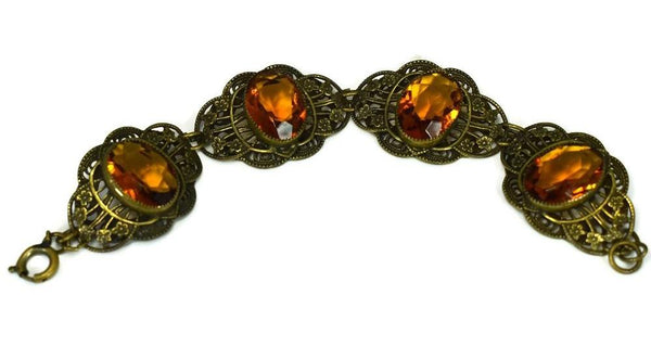 Art Deco Citrine Czech Glass Bracelet Ornate Brass Filigree Setting Large Stones