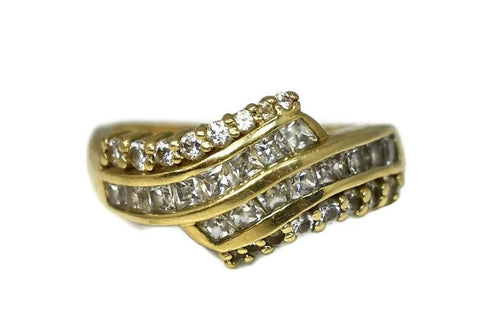 14k Gold Cubic Zirconia CZ Cocktail Ring 32 Baguette and Brilliant Stones - Premier Estate Gallery