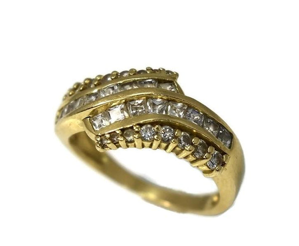 14k Gold Cubic Zirconia CZ Cocktail Ring 32 Baguette and Brilliant Stones - Premier Estate Gallery 2