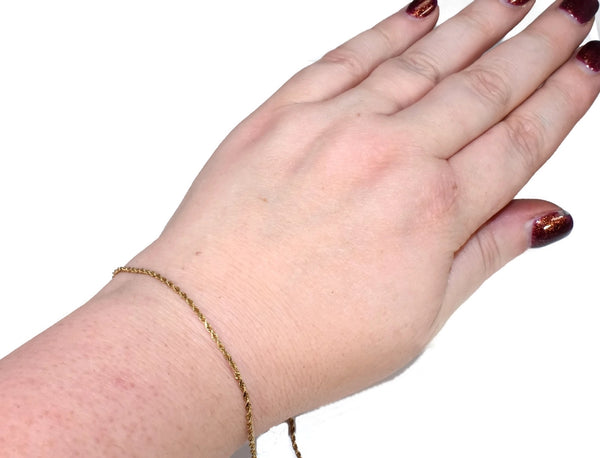 14k  Dainty Ankle Bracelet or Men's Gold Bracelet 10 inch