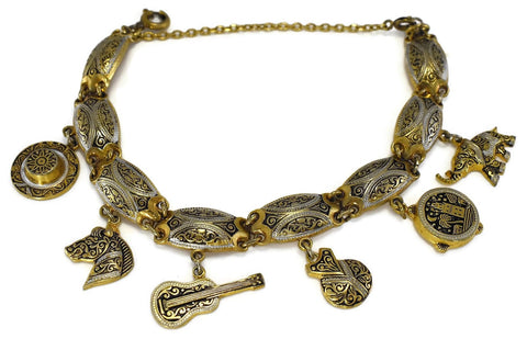 Vintage Damascene Gold Plated Charm Bracelet Exquisite Detail Spanish - Premier Estate Gallery 1