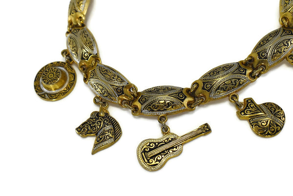 Vintage Damascene Gold Plated Charm Bracelet Exquisite Detail Spanish - Premier Estate Gallery 2