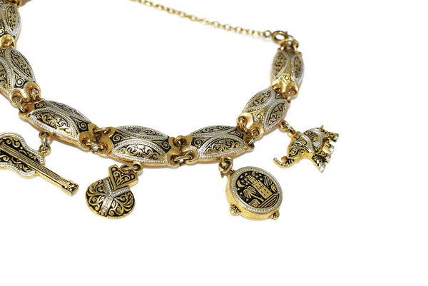 Vintage Damascene Gold Plated Charm Bracelet Exquisite Detail Spanish - Premier Estate Gallery 3