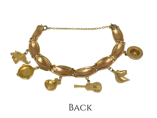 Vintage Damascene Gold Plated Charm Bracelet Exquisite Detail Spanish