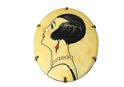 1920s Art Deco Flapper Brooch Celluloid and Brass - Premier Estate Gallery 1