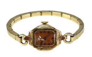 Art Deco Era 14k Gold Tavaness Vintage Wristwatch Watch Needs TLC - Premier Estate Gallery
