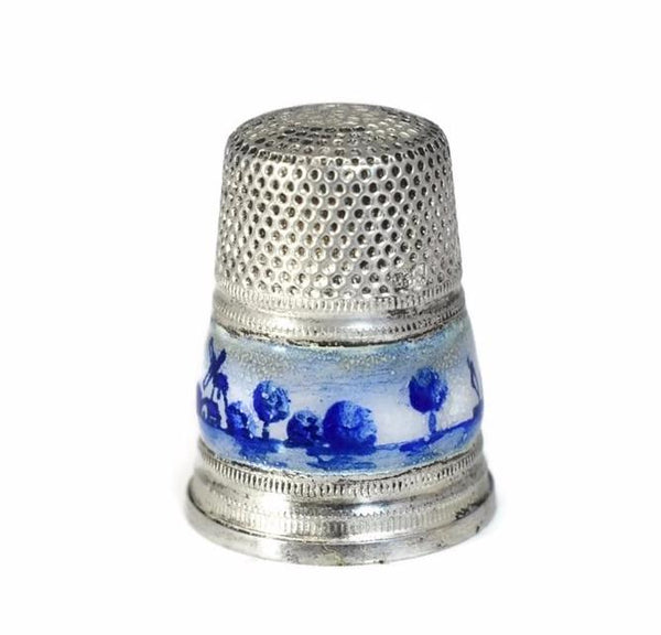 1950s Sterling Silver Thimble Gabler Co. Germany Blue White Enameling Netherlands Import - Premier Estate Gallery 2