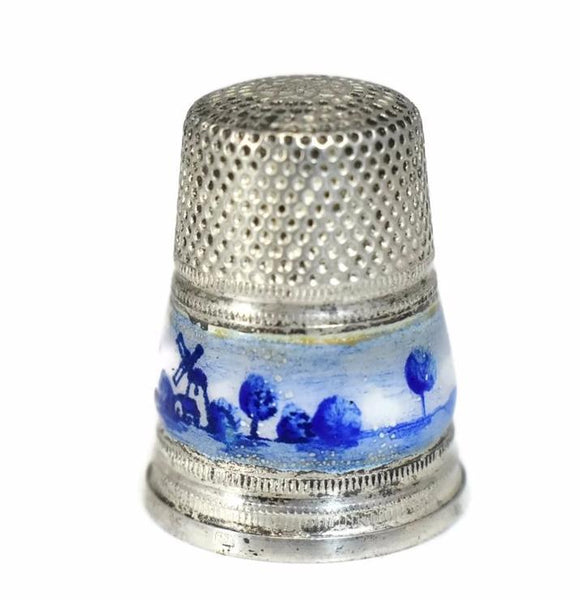 1950s Sterling Silver Thimble Gabler Co. Germany Blue White Enameling Netherlands Import - Premier Estate Gallery 3