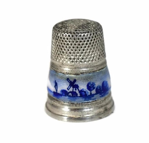 1950s Sterling Silver Thimble Gabler Co. Germany Blue White Enameling Netherlands Import - Premier Estate Gallery