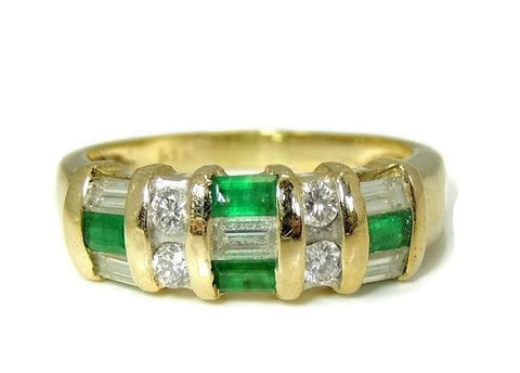 14k Emerald Diamond Baguette Ring