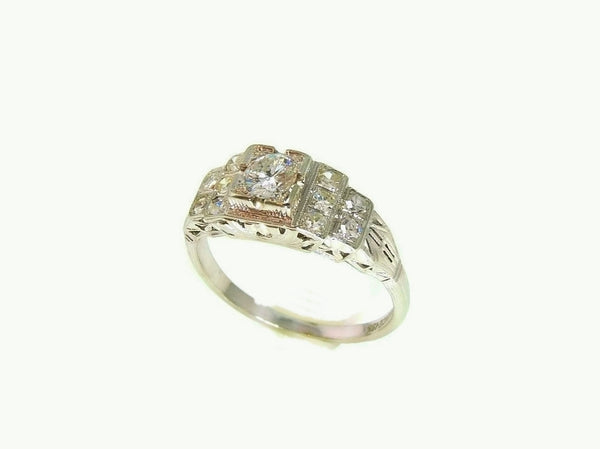Art Deco 19k White Gold Diamond Ring Wedding Set - Premier Estate Gallery  - 4