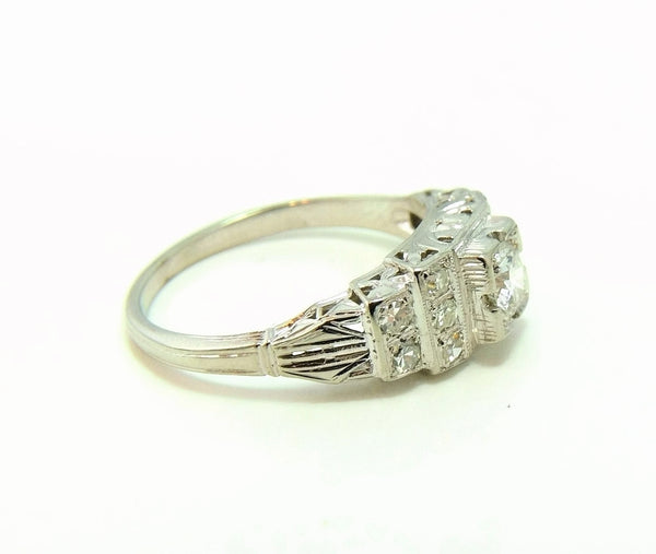 Art Deco 19k White Gold Diamond Ring Wedding Set - Premier Estate Gallery  - 6