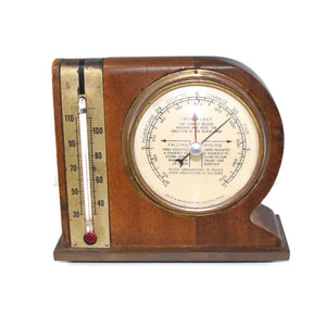 Mid Century Modern Desk Weather Station Thermometer Barometer - Premier Estate Gallery