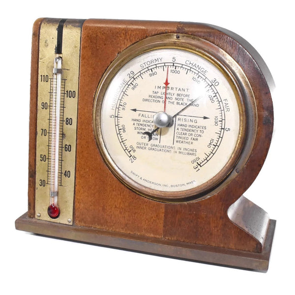 Mid Century Modern Desk Weather Station Thermometer Barometer - Premier Estate Gallery 1