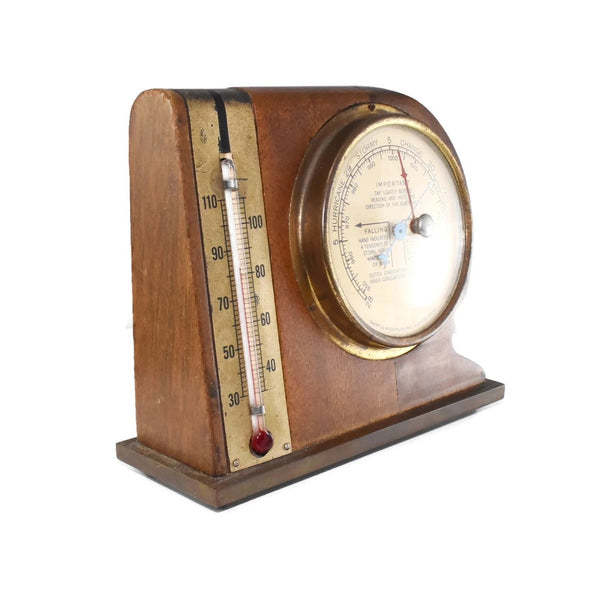 Mid Century Modern Desk Weather Station Thermometer Barometer - Premier Estate Gallery 3