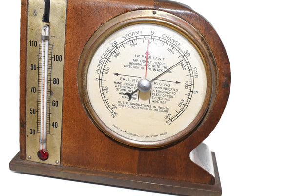 Mid Century Modern Desk Weather Station Thermometer Barometer - Premier Estate Gallery 4