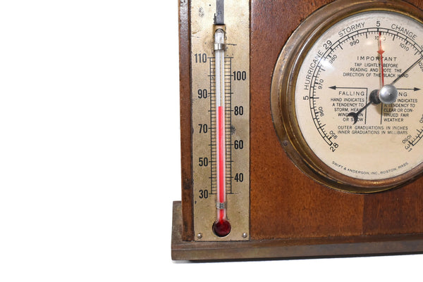 Mid Century Modern Desk Weather Station Thermometer Barometer