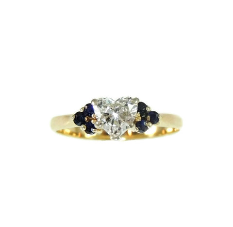 Heart Diamond Engagement Ring 14k Gold Saphhires - Premier Estate Gallery  - 1