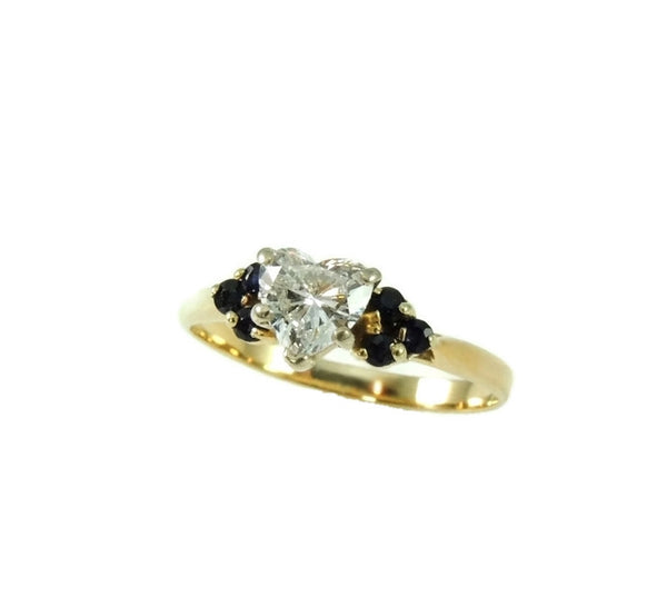Heart Diamond Engagement Ring 14k Gold Saphhires - Premier Estate Gallery  - 2