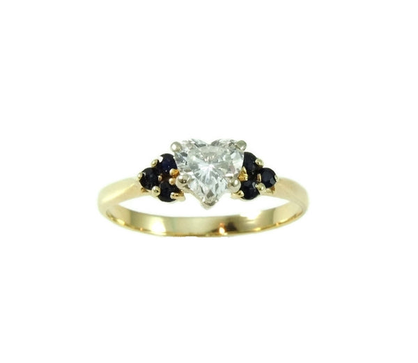 Heart Diamond Engagement Ring 14k Gold Saphhires - Premier Estate Gallery  - 3