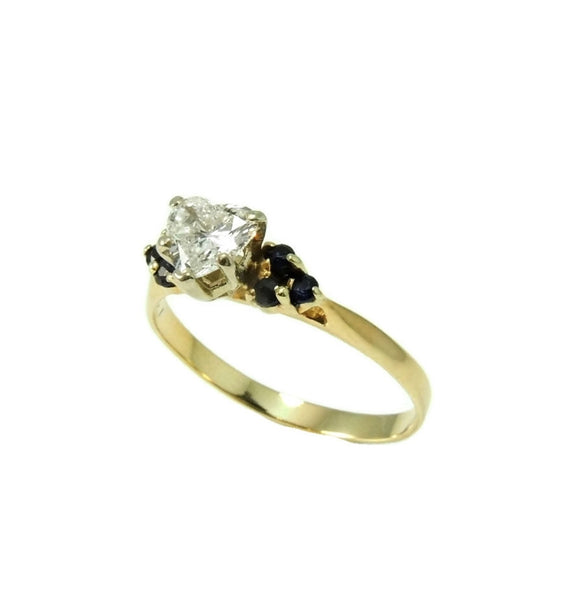 Heart Diamond Engagement Ring 14k Gold Saphhires - Premier Estate Gallery  - 4