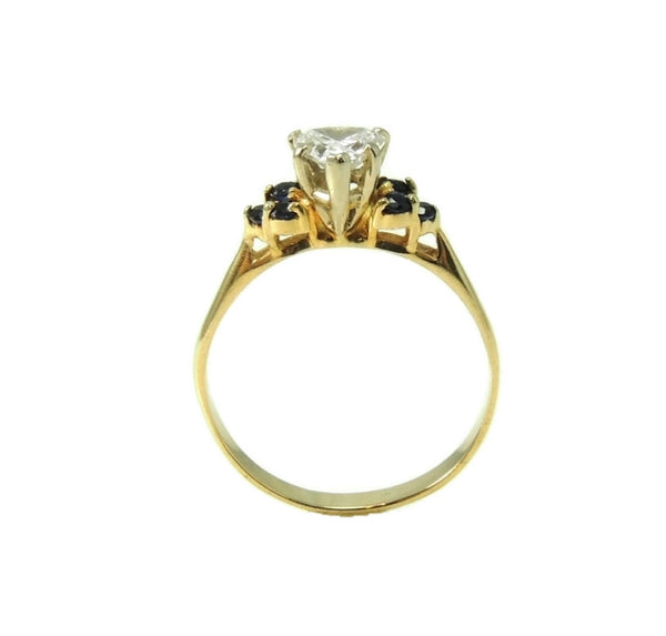 Heart Diamond Engagement Ring 14k Gold Saphhires - Premier Estate Gallery  - 5