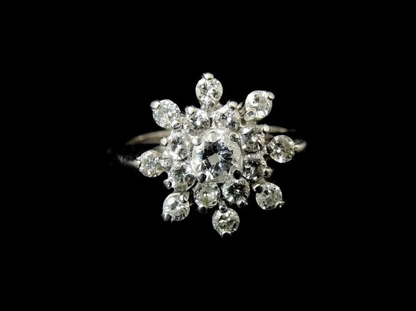 Estate Diamond Cluster Engagement Ring 14k White Gold - Premier Estate Gallery  - 2
