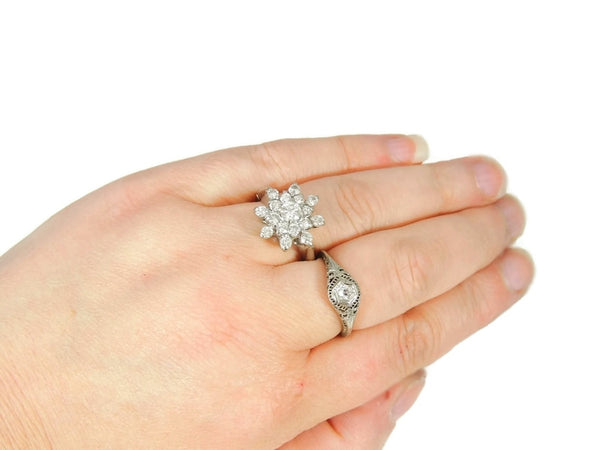 Estate Diamond Cluster Engagement Ring 14k White Gold - Premier Estate Gallery  - 4