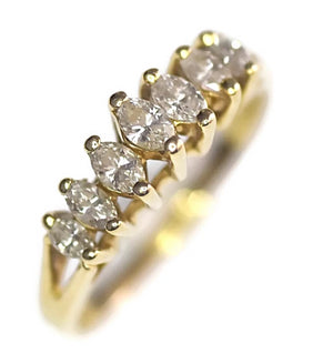 14k Gold Seven Diamond Marquise Ring .50 ctw - Premier Estate Gallery