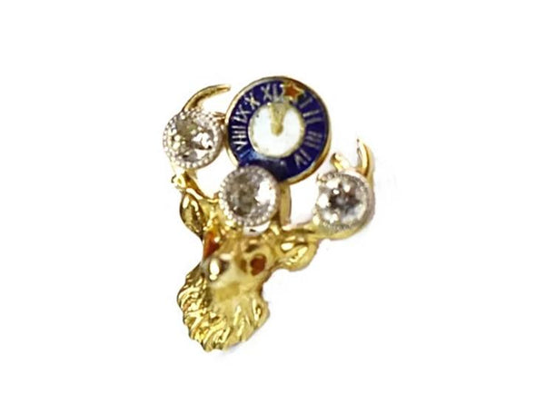 14k Gold Elks BPOE Lapel Pin Diamonds Enamel Vintage 1.2g - Premier Estate Gallery 1