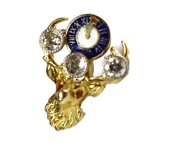 14k Gold Elks BPOE Lapel Pin Diamonds Enamel Vintage 1.2g - Premier Estate Gallery 2