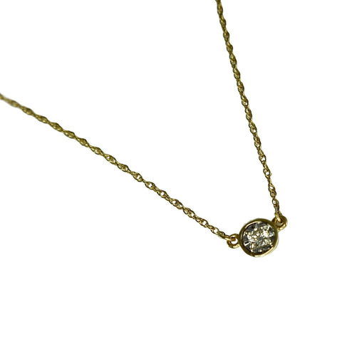 Vintage 14k Diamond Necklace Illusion Setting .11 ctw - Premier Estate Gallery
