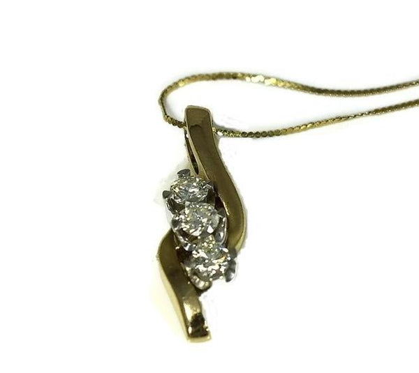 14k Diamond Pendant with Chain Past Present Future .54 ctw - Premier Estate Gallery 2