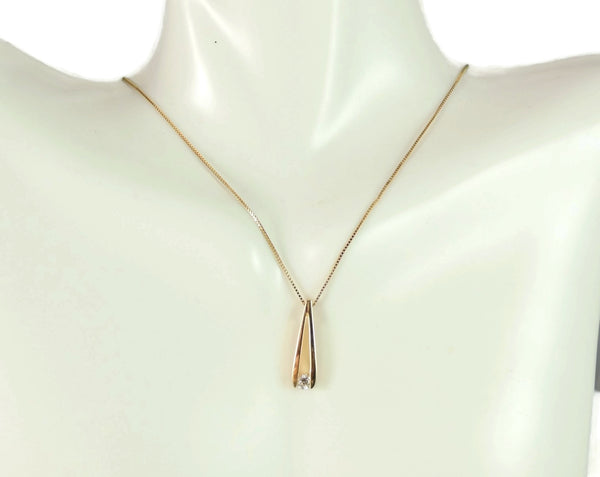 14k Floating Diamond Pendant w Gold Chain Necklance - Premier Estate Gallery  - 3