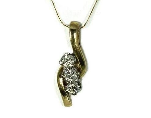 14k Diamond Pendant with Chain Past Present Future .54 ctw