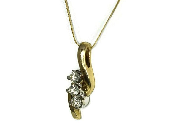 14k Diamond Pendant with Chain Past Present Future .54 ctw - Premier Estate Gallery 3