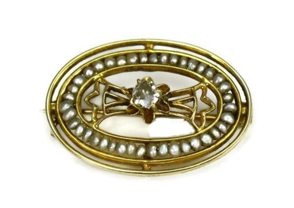 Antique Edwardian 10k Diamond Brooch with Strung Seed Pearls - Premier Estate Gallery