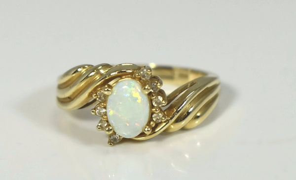 14k White Opal Diamond Ring in Fancy Gold Setting October Birthstone - Premier Estate Gallery 2