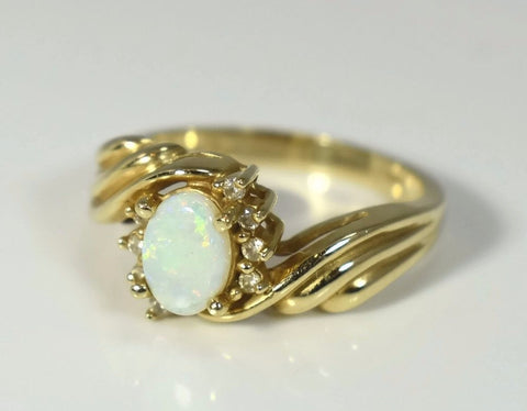 14k White Opal Diamond Ring in Fancy Gold Setting October Birthstone - Premier Estate Gallery