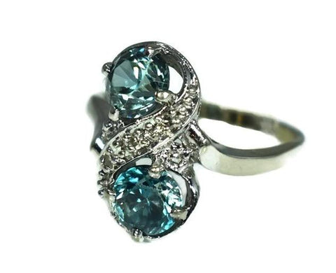 14k White Gold London Blue Topaz Ring Two Stone Ring c1950 - Premier Estate Gallery 2