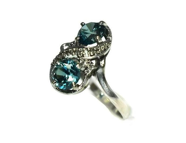 14k White Gold London Blue Topaz Ring Two Stone Ring c1950 - Premier Estate Gallery 4
