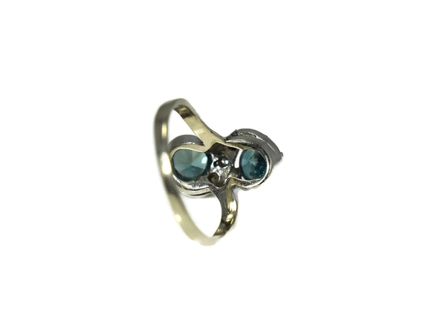 14k White Gold London Blue Topaz Ring Two Stone Ring c1950